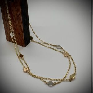 NEW Tri Color Gold Double Chain Disc Bracelet